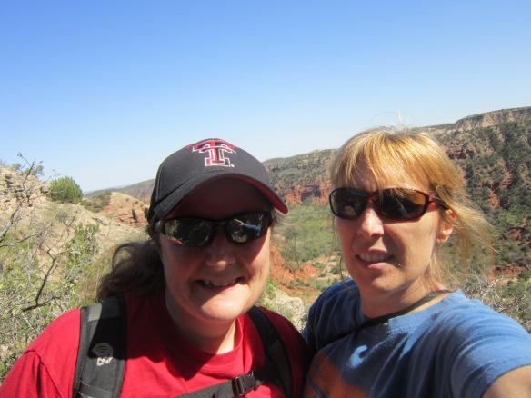 Tigga and Wendy at Caprock Canyon -- grad school sisters since Fall 1994!