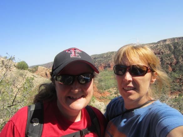 Tigga and Wendy at Caprock Canyon -- grad school sisters since Fall 1994!
