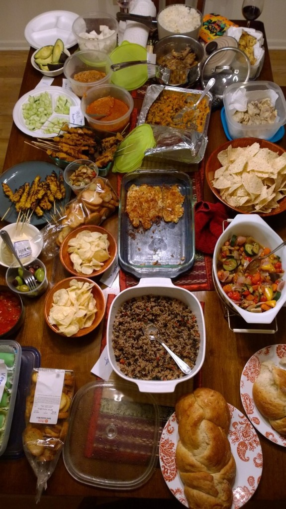 Cultural Feast --- lab potluck celebrating Maria's new position. Theme was national/state dishes so we had Malaysia, Philippines, Costa Rica, England, Taiwan, US with vegan, vegetarian, Halal, Paleolithic dishes.