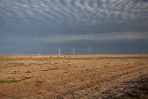 Treeless, waterless plain, where turbines abound